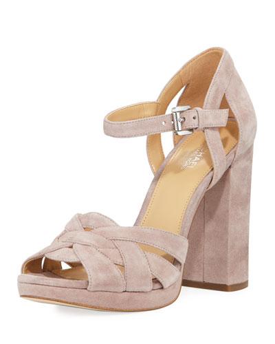 Annaliese Suede Platform Sandal, Beige
