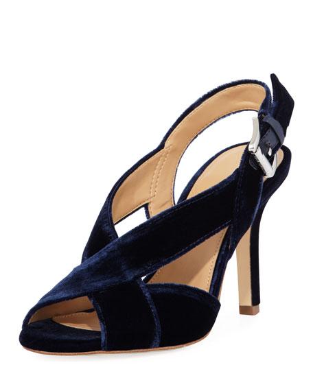 MICHAEL Michael Kors Becky Velvet Cutout Sandal, Navy
