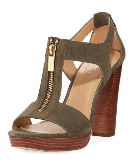 MICHAEL Michael Kors Berkley Cutout Zip Sandal, Olive