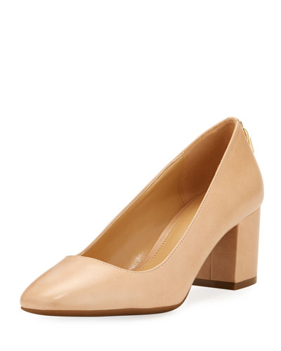 Mira Smooth Leather Pump, Khaki