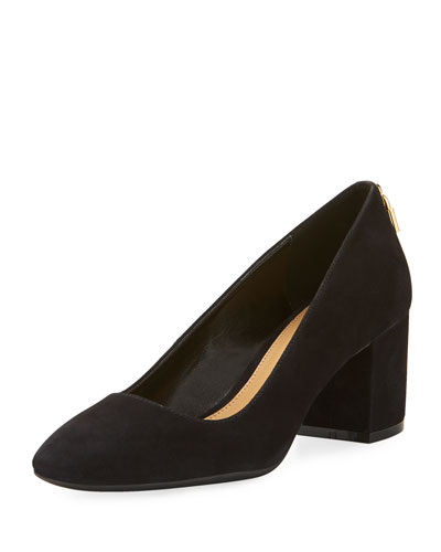 Mira Smooth Suede Pump, Black