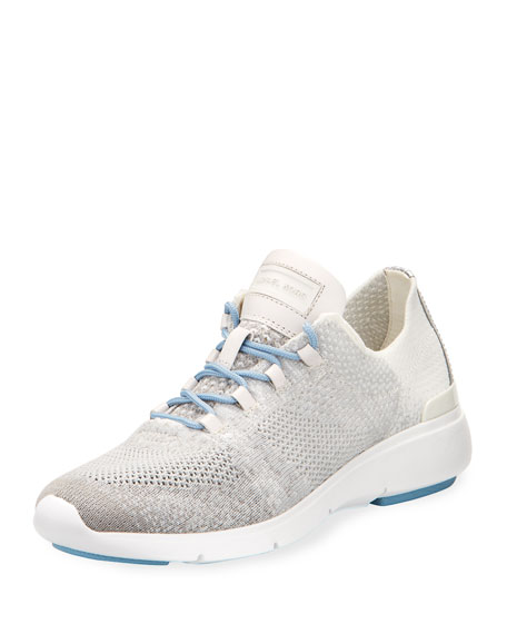 Skyler Knit Lace-Up Trainer Sneaker, Gray
