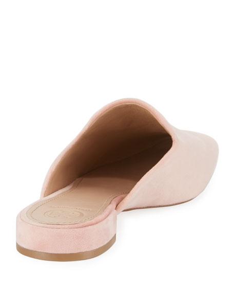 Carlotta Velvet Flat Mule Loafer, Light Pink