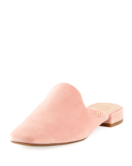 Carlotta Velvet Flat Mule Loafer, Light Pink