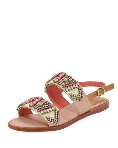 Tanner Jeweled Flat Sandal