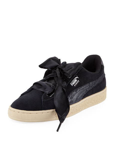 Puma Basket Heart Safari Suede Sneaker, Black