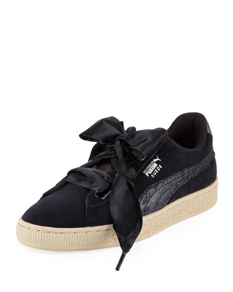 Puma Basket Heart Safari Suede Sneaker, Black