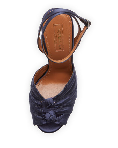 Party Plateau Satin 140mm Sandals, Ink