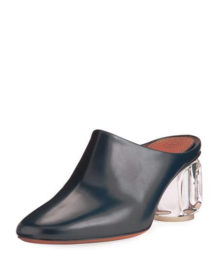 Adela Mule with Glass Heel, Navy