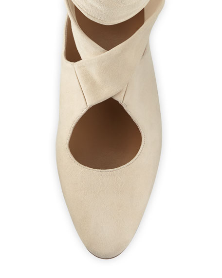 Elodie Lace-Up Ballet Flats, Neutral