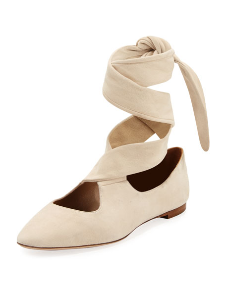 THE ROW Elodie Lace-Up Ballerina Flat, Neutral
