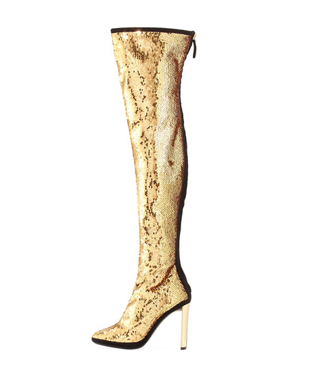 Stretch Sequin Over-The-Knee Boot