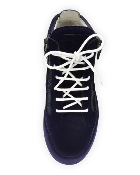 Flocked Suede Mid-Top Sneaker