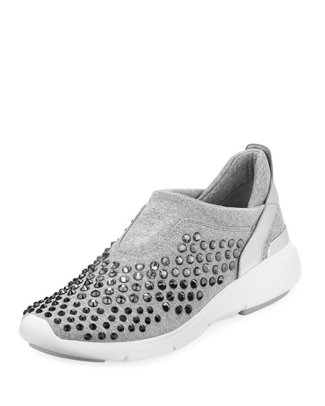 Ace Crystal-Embellished Trainer Sneaker, Gray/Silver
