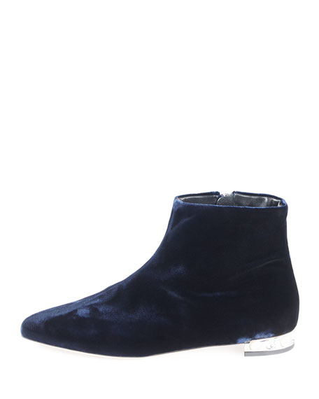 Velvet Pearly-Heel Booties, Blue