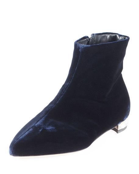 Miu Miu Velvet Pearly-Heel Bootie, Blue