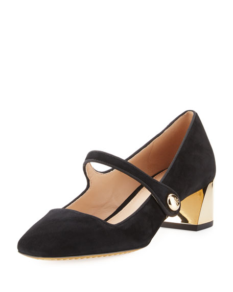 Tory Burch Marisa Suede 40mm Mary Jane Pump