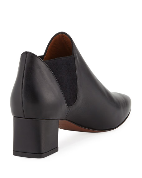 Poppy Leather Ankle Boots, Black