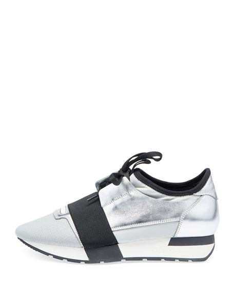 Matelasse Metallic Sneakers, Argent