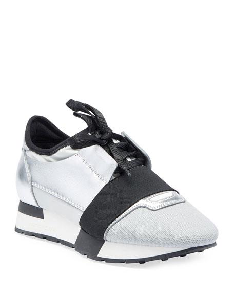 Balenciaga Matelasse Metallic Sneaker, Argent