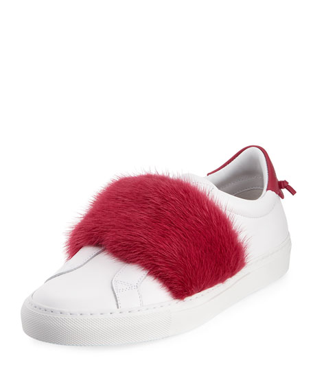 Givenchy Urban Knot Fur-Trim Sneaker
