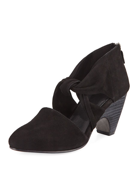 Mary Knotted Suede Cutout Zip Pump