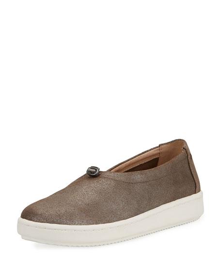 Eileen Fisher Sydney Metallic Suede Pull-Tab Sneaker, Platinum
