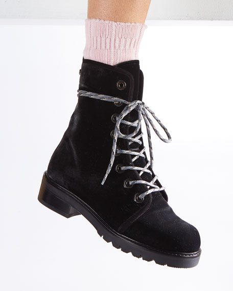 Metermaid Velvet Combat Boot