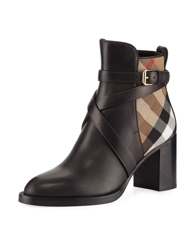 e05e38297b2 Burberry Vaughan Leather   Check 70mm Block-Heel Booties
