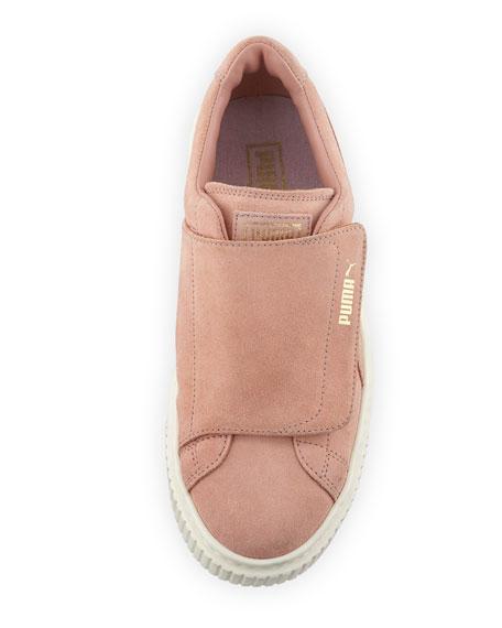 Suede Grip-Strap Platform Sneakers, Blush