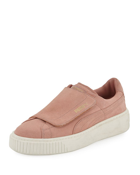 Puma Suede Grip-Strap Platform Sneaker, Blush