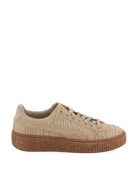 Basket Fabric Platform Sneaker, Safari Beige