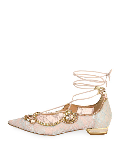 Embellished Lace Ankle-Tie Flat, Pink