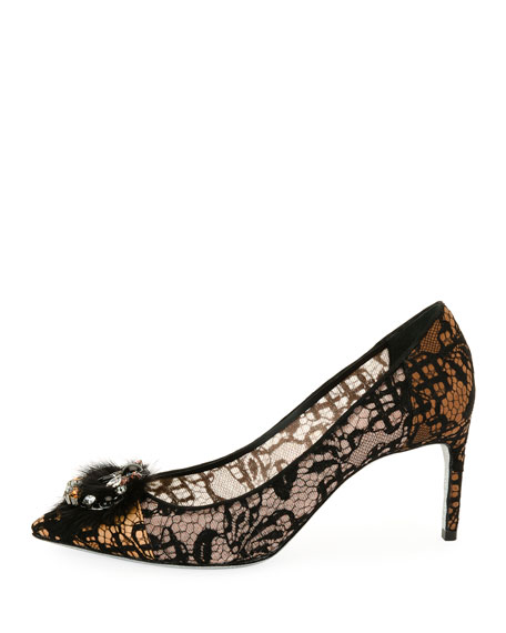 Fur-Toe Lace Pointed Pump, Beige