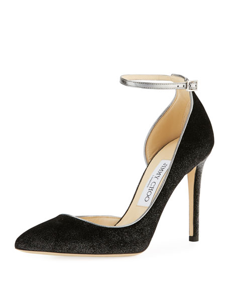 Jimmy Choo Lucy Metallic Velvet Ankle-Wrap Pump