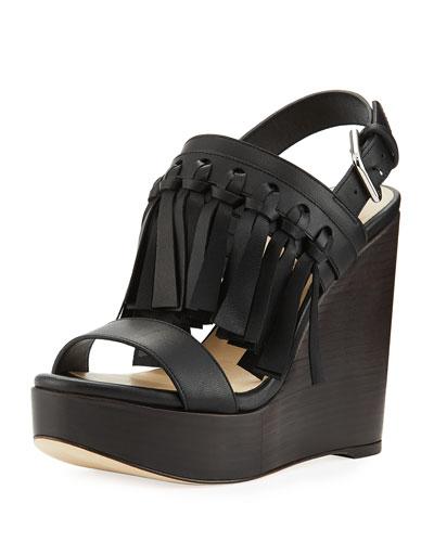 Nya Leather Fringe Wedge Sandal