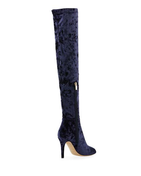 Toni Over-The-Knee Stretch-Velvet Boot