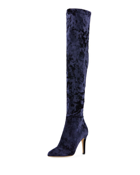 Jimmy Choo Toni Over-The-Knee Stretch-Velvet Boot