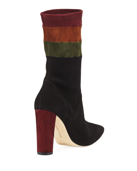 Statlow Striped Stretch-Suede Booties
