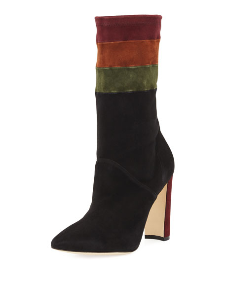 Manolo Blahnik Statlow Striped Stretch-Suede Bootie