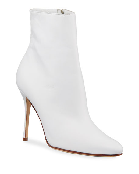 MANOLO BLAHNIK Insopo Leather Zip Booties, White