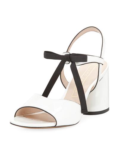 Wilde Tie Block-Heel Sandal, White