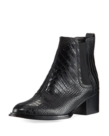 Walker II Crocodile-Embossed Chelsea Boot