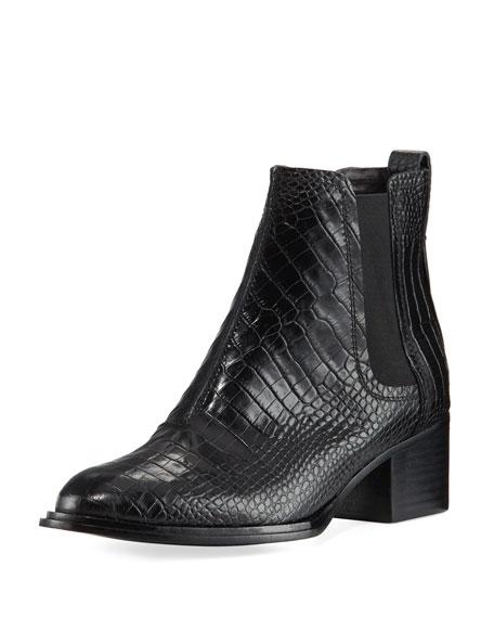 Walker II Crocodile-Embossed Chelsea Boot