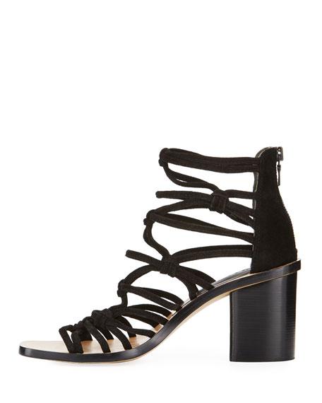 Camille Caged Macrame Mid-Heel Sandal