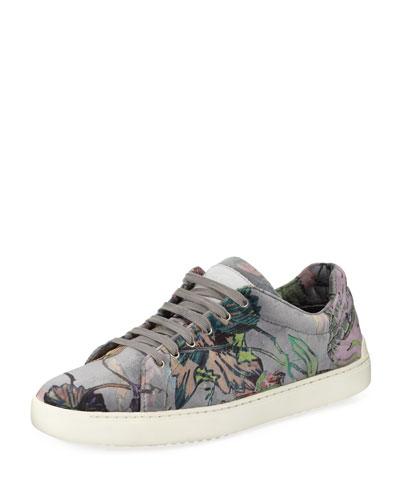 Kent Floral-Print Velvet Low-Top Sneaker