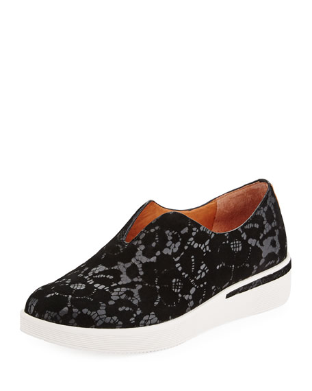 Gentle Souls Hanna Flocked Leather Slip-on Sneaker, Black