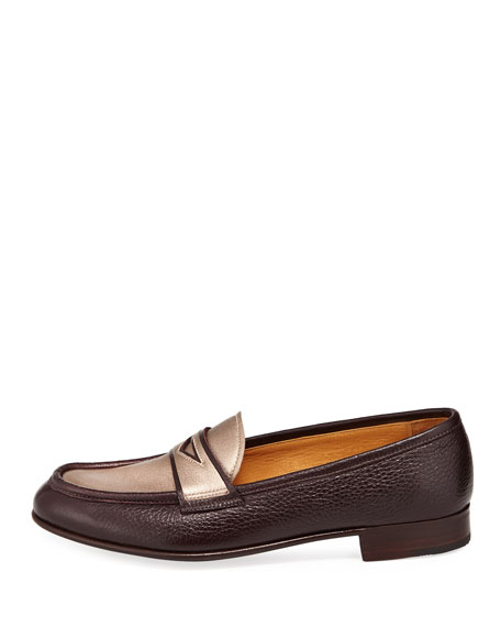 Leather Penny Loafer with Metallic Plug