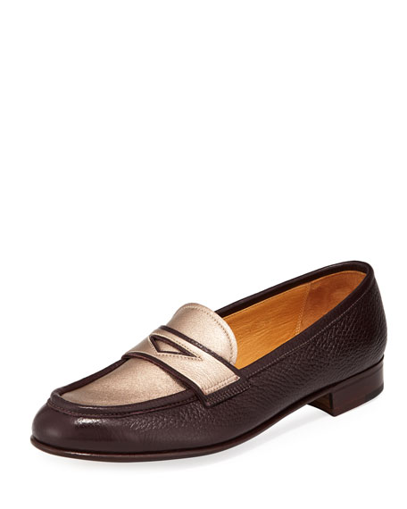 Leather Penny Loafer With Metallic Plug, Red/Gold