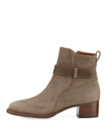 Suede Bootie with Accent Strap